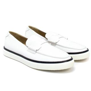Hermes White Loafers