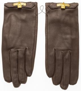 Hermes Toundra Agneau Brown Leather Gloves with Gold Hardware