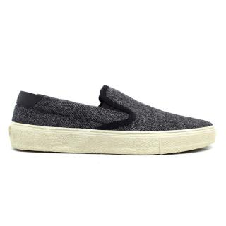Saint Laurent Grey Herringbone Slip On Trainers