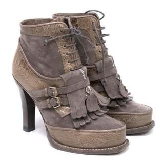 Tabitha Simmons Suede 'Kiltie' Brown Boots