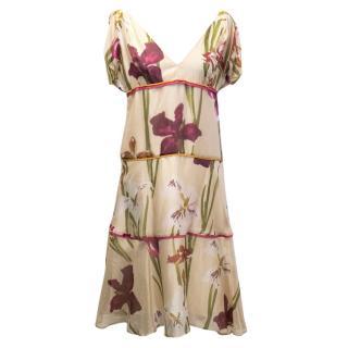 Kenzo Beige Floral Print Silk Midi Dress