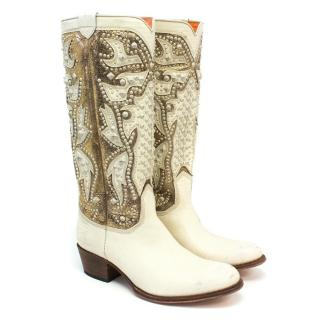 Frye Gold And Cream Studded Tall Cowboy Boots