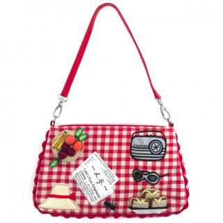Lulu Guinness Red and White Gingham Handbag