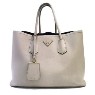 Prada Taupe Saffiano Cuir Leather Double Bag