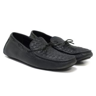 Bottega Veneta Leather Intrecciato Woven Driving Shoes