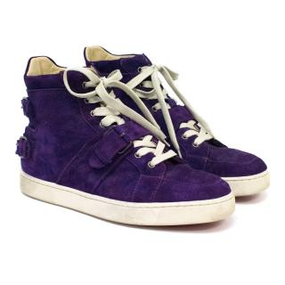 Christian Louboutin Mens Purple Suede Hi-top Trainers