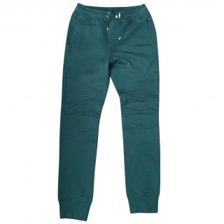 Balmain Men's Dark Forest Green Biker Joggers