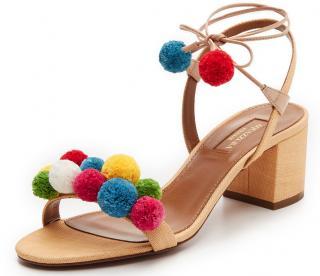 Aquazzura pompom raffia shoes