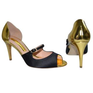 Rupert Sanderson Lorna Gold Leather & BlackSatin Sandals