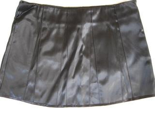 Roland Mouret black satin mini skirt.