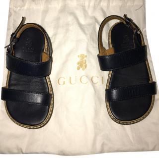 Gucci boy's black leather sandals