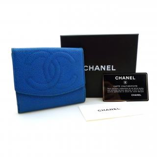 CHANEL Blue Caviar Leather Billfold Wallet Purse