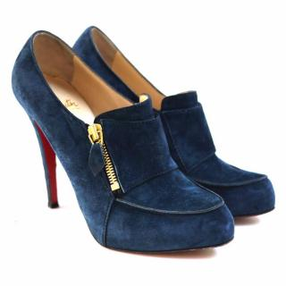 Christian Louboutin Blue Lapono Suede Leather Ankle Boots