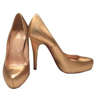 Christian Louboutin Rolando Gold Metallic Nappa Leather Platform Pumps