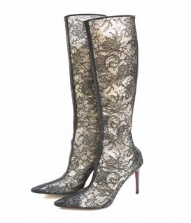 Christian Louboutin Black Lace Crepe Satin Knee High Boots
