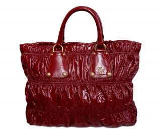 Prada Red Rubino Vernice Gaufre Patent Leather Tote