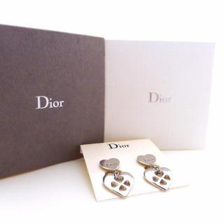 Christian Dior Heart Shape Rhodium Plated Clip Earrings