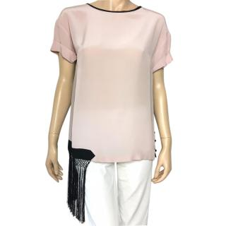 Dries Van Noten light pink silk top with black fringes