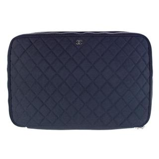 Chanel Blue Quilted 15 Inch Laptop Bag