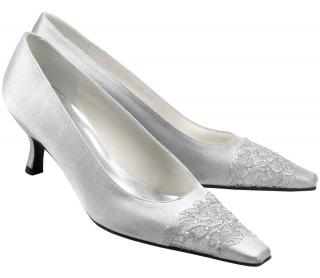 Stuart Weitzman Silver Satin with lace & crystal trim court shoes