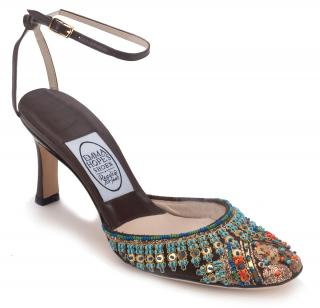 Emma Hope Chocolate Brown Beaded Fabric & Leather Round Toe Sandals