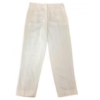 Alberta Ferretti white linen trousers