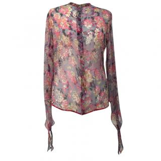 Nicole Farhi Sheer Silk Printed Blouse