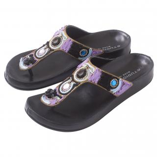 Pollini Black Leather Jewelled Sandals