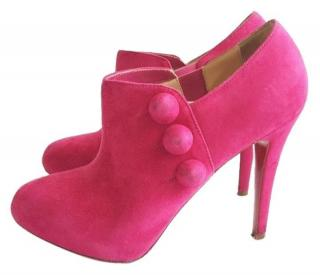 Christian Louboutin Pink Fushcia C'est  Moi Suede Leather Ankle Boots