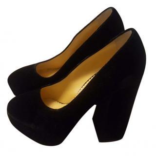 Charlotte Olympia black suede platform heels size 36