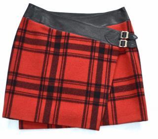 Saint Laurent red-black plaid wrap skirt