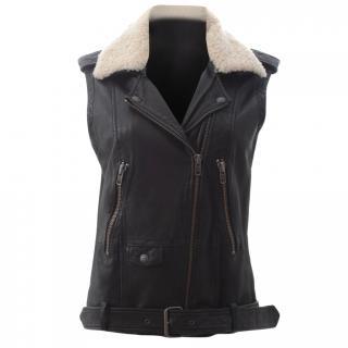 The Kooples Sheepskin Leather Sleeveless Biker Jacket