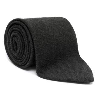 Emporio Armani Grey Silk and Wool Blend Tie