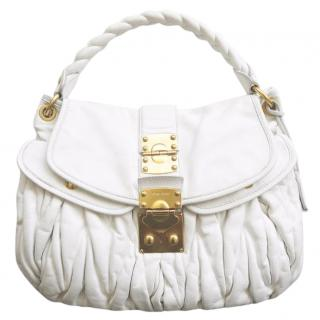 Miu Miu by Prada White Leather Coffer Matelasse Hobo Shoulder Bag