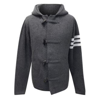 Thom Browne Grey Cashmere Hooded Cardigan