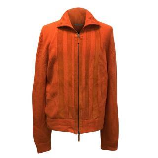 Bottega Veneta Orange Cashmere and Leather Cardigan