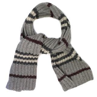Burberry Grey Striped Wool Scarf