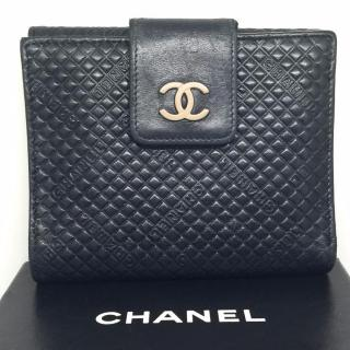 Chanel Black Quilted Compact Wallet Purse