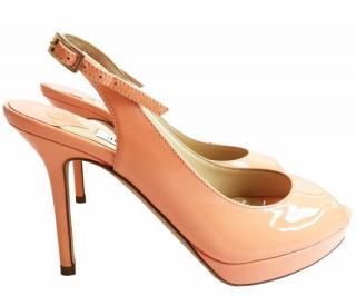 Jimmy Choo Nova Patent Leather Slingback Platform Sandals