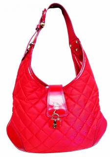 Burberry Red Quilted Fabric Patent Leather Hobo Shoulder Bag