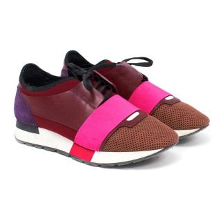 Balenciaga Race Runner Leather and Fabric Sneakers