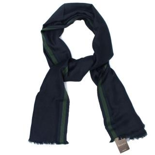 Gucci Navy And Green Cashmere Blend Scarf