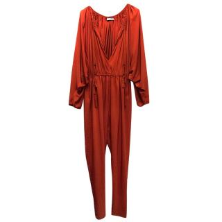 Lanvin Burnt Orange Rope Tie Jumpsuit