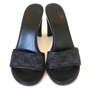 Gucci Black Monogram GG Fabric Mules Heels