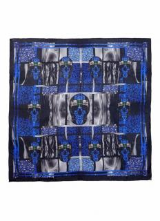 Alexander McQueen Blue Silk Skull Print Scarf