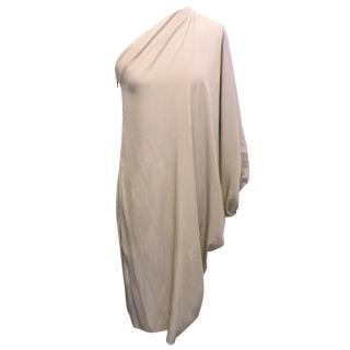 Lanvin Taupe One Shoulder Asymmetric Dress