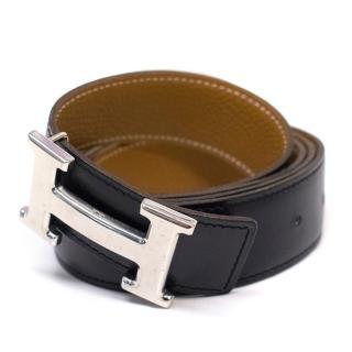 Hermes Mens Reversible Black And Tan Leather Belt