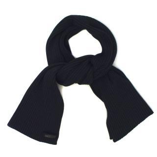 Prada Navy Blue Wool Scarf