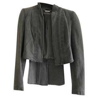 Alexander McQueen Pre 2010 Grey Denim Fitted Riding Jacket With Tails