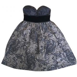 Tibi Brown & Black Strapless Dress